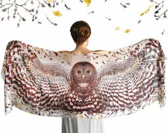 Uil sjaal, dierlijke sjaal, Burning Man kleding bruids toebehoren, Nursing sjaal, Owl kleding, Hippie kleding, Hippie trouwjurk
