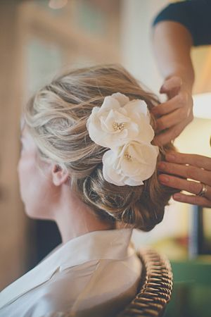 pretty hair flowers + updo | Our Labor of Love #wedding