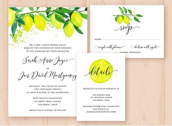 Watercolor Lemons  Citrus DIY Wedding by AffordableDIYWedding