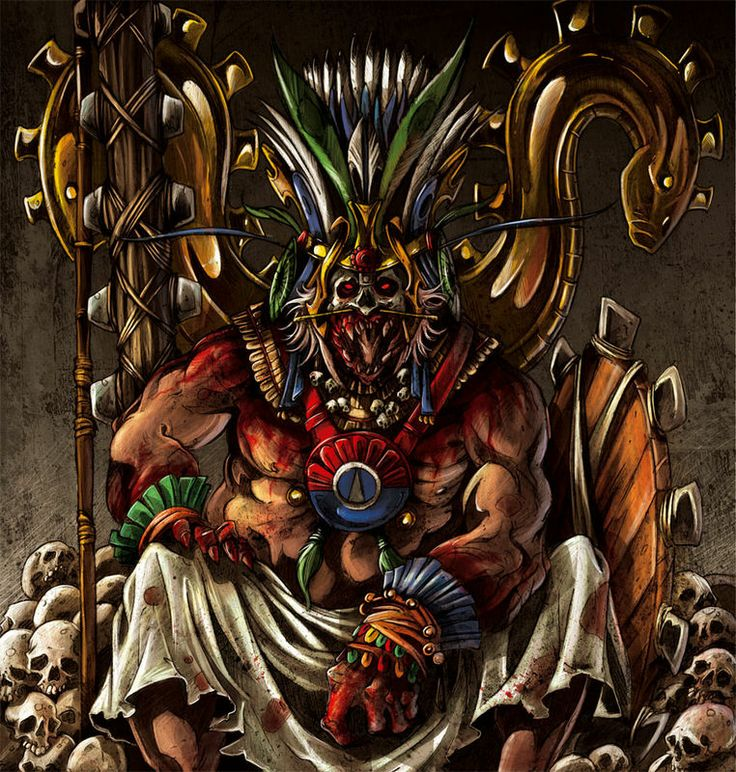 """Huitzilopotchi Aztec God of War and of the Sun, chief god of the great Aztec city Tenochtitlan. He is a son of Coatlicue. He slew his sister Coyolxauhqui and tossed her head into the sky where it became the moon. Huitzilopochtli was represented as a hummingbird, or with the feathers of a hummingbird on his head and his left leg, with a black face and holding a snake, and a mirror. His name means """"Hummingbird of the South"""", """"He of the South"""", or """"Hummingbird on the Left""""."""
