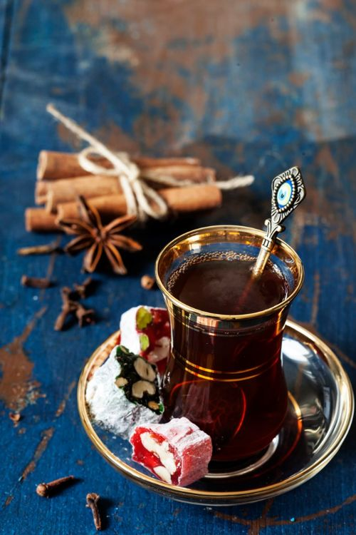 There is nothing better than a hot traditional Turkish tea with delights... Kamelia Official by Yulia Kotina
