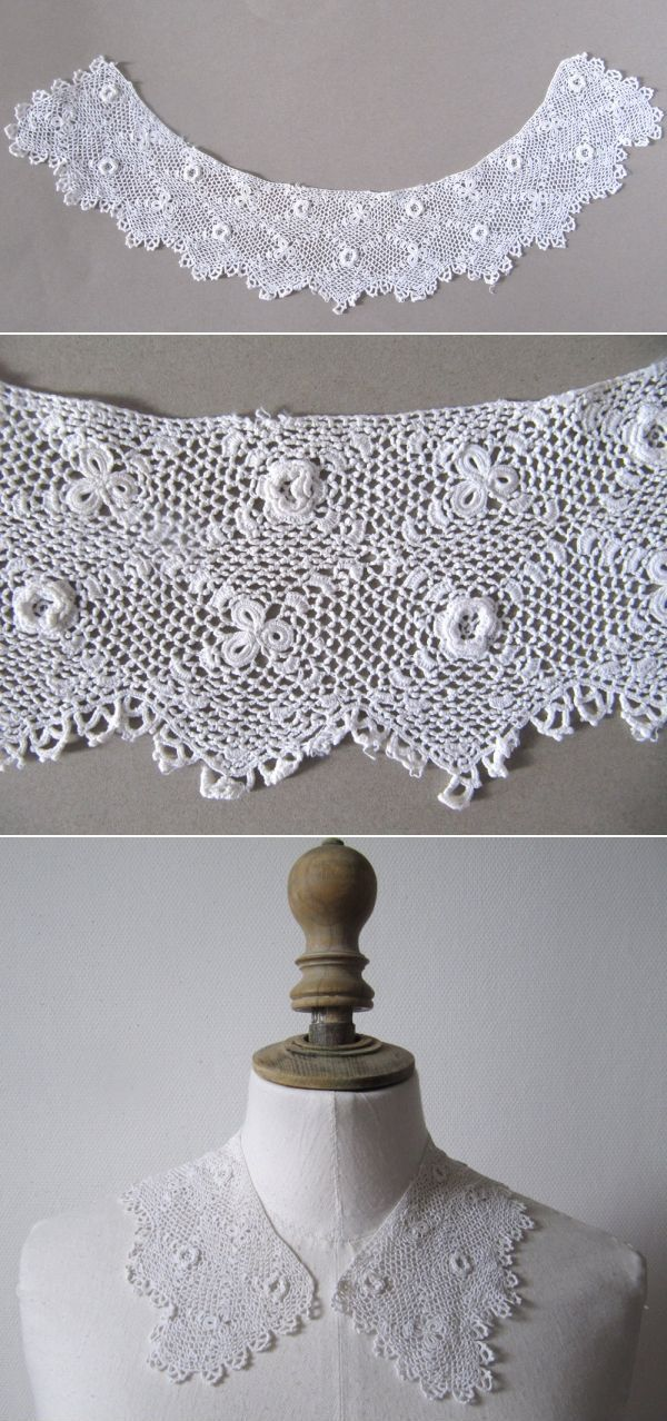 Vintage 1910's Irish Crochet Lace (Point d'Irlande) collar, White Cotton…