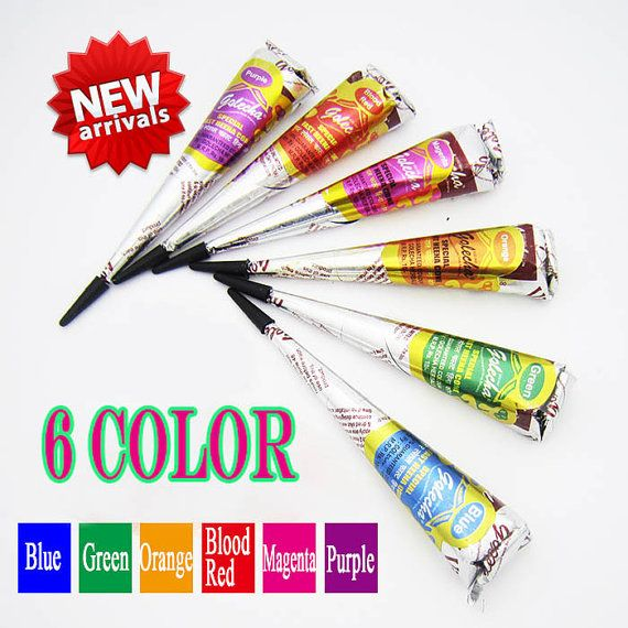 6 Natural Herbal Multi Colored Henna Cones Instant Color - FREE GIFT- Henna Paste Temporary Tattoo Kit Body Art DIY Freshly Prepared