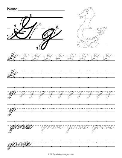 Free Printable Cursive G Worksheet   Learning cursive ...