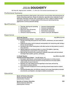 teacher resume examples education sample resumes livecareer