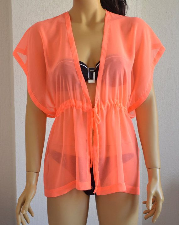 Neon pink chiffon caftan beach cover up summer dress by bstyle, $29.50