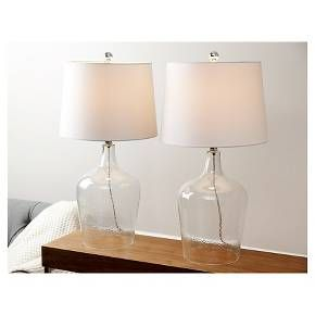 Abbyson Living Delmore Glass Table Lamp (Set of 2) - Clear : Target