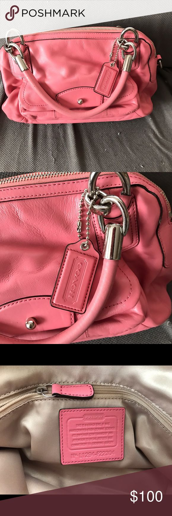 Authentic Leather Coach Purse This is an authentic pink leather Coach purse. Gently used. There are a few small stains inside that I will try to clean. Coach Bags Totes