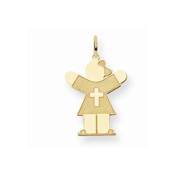 14K Yellow Gold Laser Cut Cross Shirt Kid Girl with Bow Charm Pendant. Free Gift Box with Purchase. The Kids Collection. Fits up to 3mm Necklaces. Free Shipping on Orders Over $50. 30 Day Money Back Guarantee.
