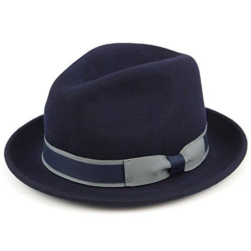 Hawkins Navy blue 100% Wool trilby hat with contrast band and side bow - (58cm) Hawkins http://www.amazon.co.uk/dp/B00VV7D062/ref=cm_sw_r_pi_dp_yBi3wb02E0P89