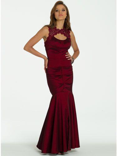 Red long dress deep
