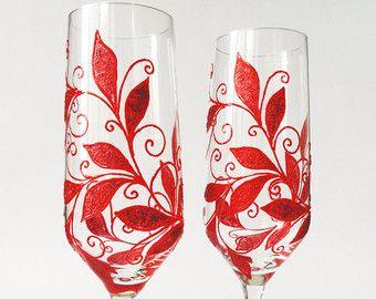 40 º aniversario de bodas, aniversario de rojo rubí, aniversario de boda personalizada, gana gafas rojo
