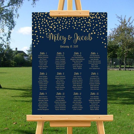 Wedding Seating Chart Gold Confetti Navy Blue by TheGemArts