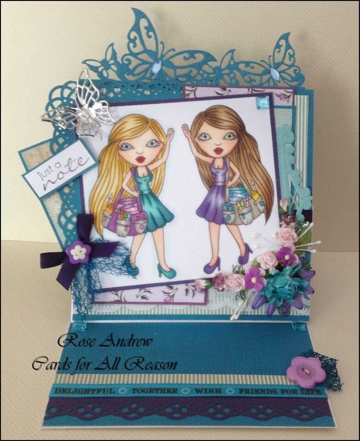 Easel card using colouring Bestie