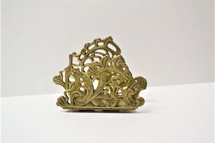 Vintage Brass Napkin Holder Letter Organizer Ornate Floral Design PanchosPorch