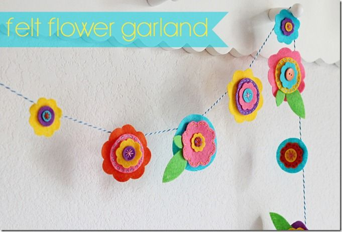 Felt Flower Garland tutorial  do this to decorate house and class for spring