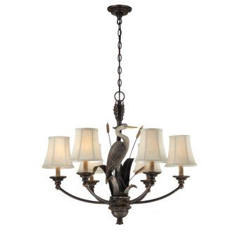 P Tropical Chandelier Ceiling Light Fixture Features An Elegant Heron As It S Center Piece