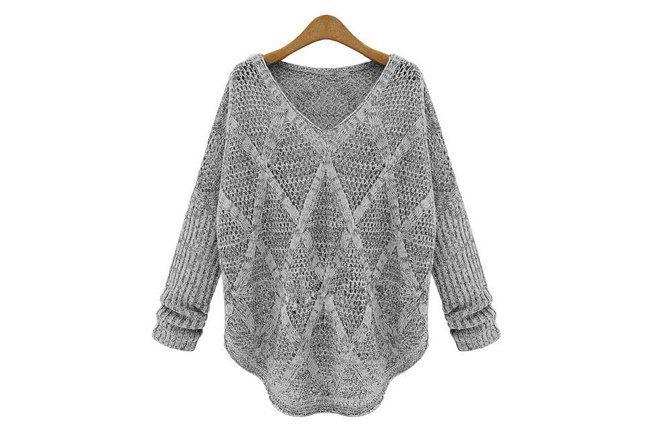 Свободный пуловер с ажурными ромбами (узор спицами). Обсуждение на LiveInternet - Российский Сервис Онлайн-Дневников