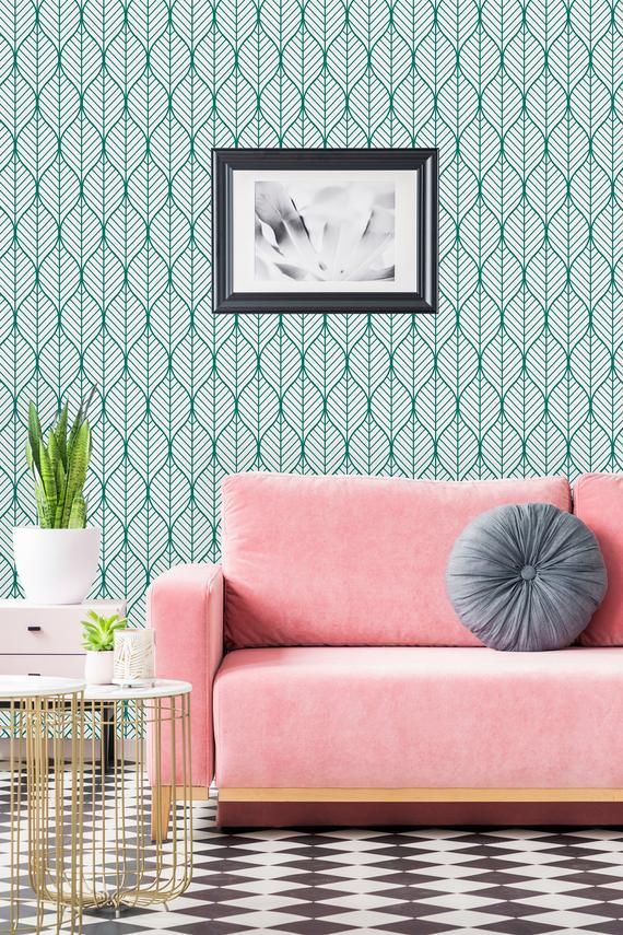 Green Geometric Leaves Removable Wallpaper Peel And Stick Etsy Green Living Room Wallpaper Wall Wallpaper Living Room Green
