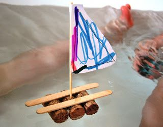 A Little Learning For Two: Cork and Popstick Rafts - I'd need to use another material for the sail or my girls would soak the paper. Maybe wax paper? A cut up bit of ziplock bag?