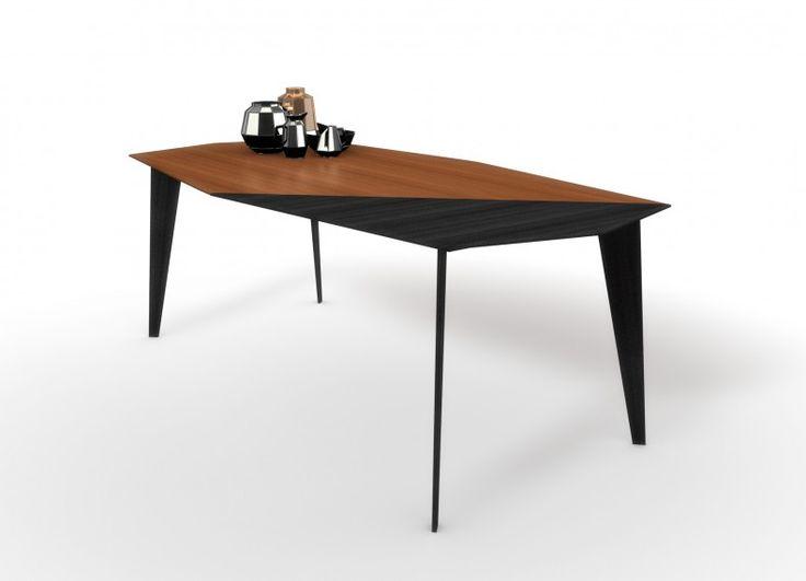 """Formabilio - Tinto è un tavolo da soggiorno o ufficio che accosta due essenze di legno diverse o con finiture / colori diseguali. I particolari tagli diagonali del piano e delle gambe rendono più dinamico un pezzo """"classico"""" come il tavolo."""
