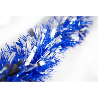 4M TWO TONE DELUXE TINSEL - BLUE/SILVER