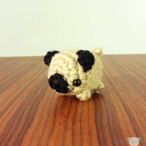 Super Mini Fat Pug(tato) Amigurumi Plush (ready to ship)    This adorable fat pug plush is waiting to be adopted into a loving home. Handmade with