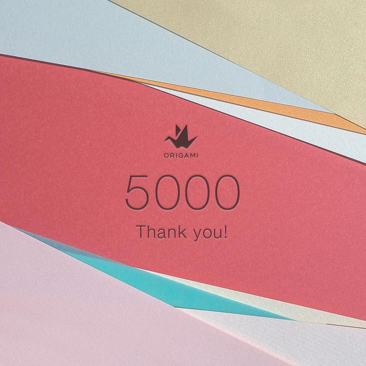 Thank you for your support! #5000 #thankyou #origami #paper #texture #color #follow #logo #vsco  5000フォロアー達成の感謝を込めて抽選で2名様に5000円分のOrigamiポイントをプレゼント  参加方法: 2015/10/25までに 1. Instagramの@origamiをフォローし 2. 5000記念投稿にいいねしてください 3. Instagramの@origami宛てにダイレクトメッセージであなたのOrigamiアプリ上ユーザー名を送信すれば完了です  当選者には10/30までに5000 Origamiポイントをプレゼントしますポイントは2015/12/31までご利用いただけます by origami
