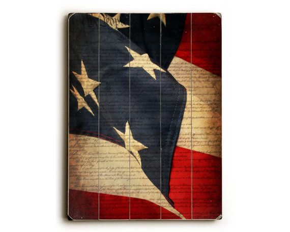 American Flag Print on Wood American Flag on by FirstLightPhoto