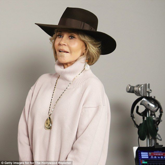 Shy: Jane Fonda displayed her lower lip bandage as she attended The Hollywood Reporter 201...
