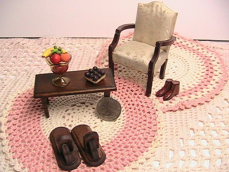 Dollhouse Furniture, Set of Miniature Living Room Dollhouse Furniture, 7Pc Furniture Set by TheBirdieBooth on Etsy