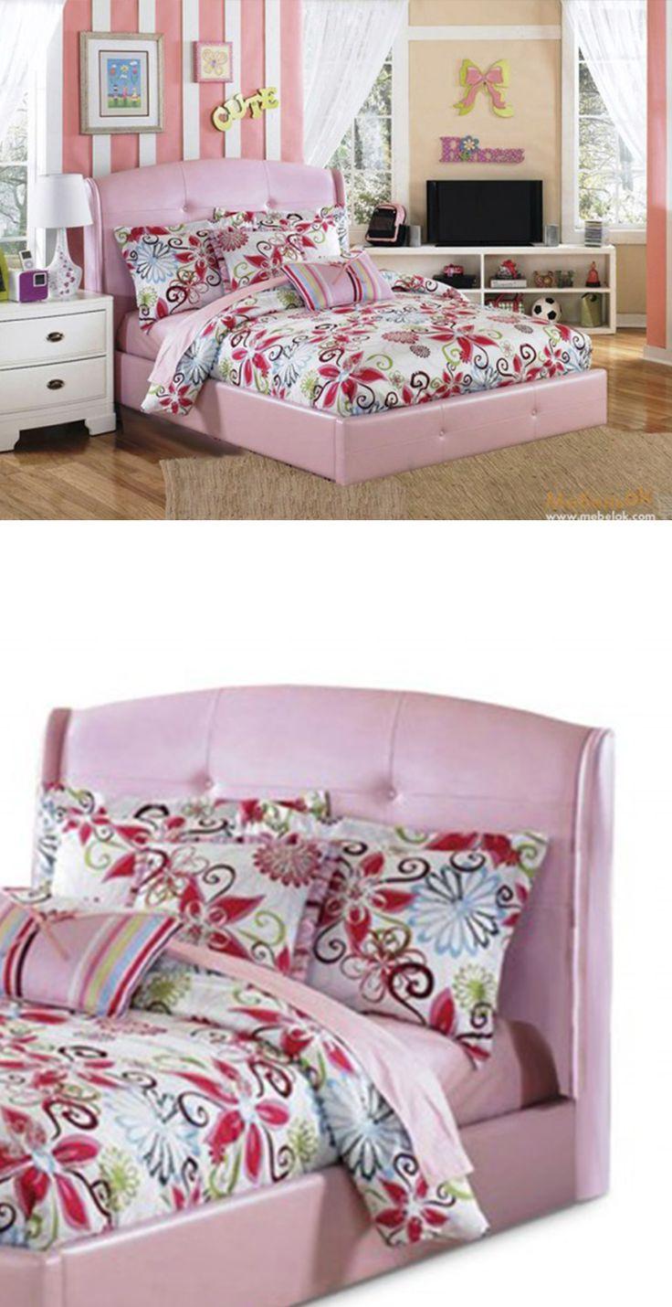 Pink soft headboard bed in girls bedroom. Розовая кровать с мягким изголовьем в спальне для девочки http://www.mebelok.com/bed-zolyshka-70-190