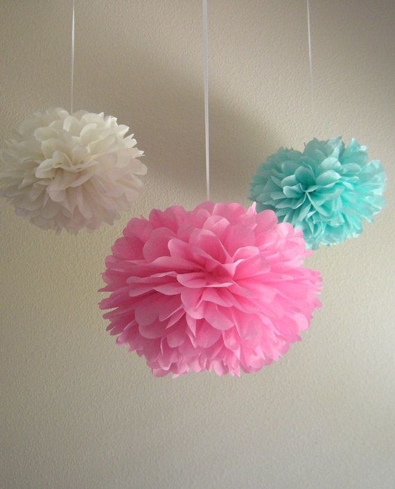 Pink and Aqua Shabby Chic Tissue Paper by PrettywithSprinkles, $25.50    -- I will be buying these for her room! great price awesome colors!