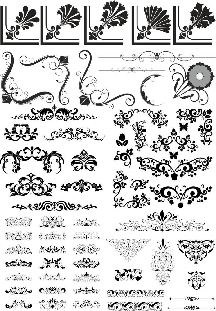 Abstract Floral Vector Elements Pack Free Vector cdr