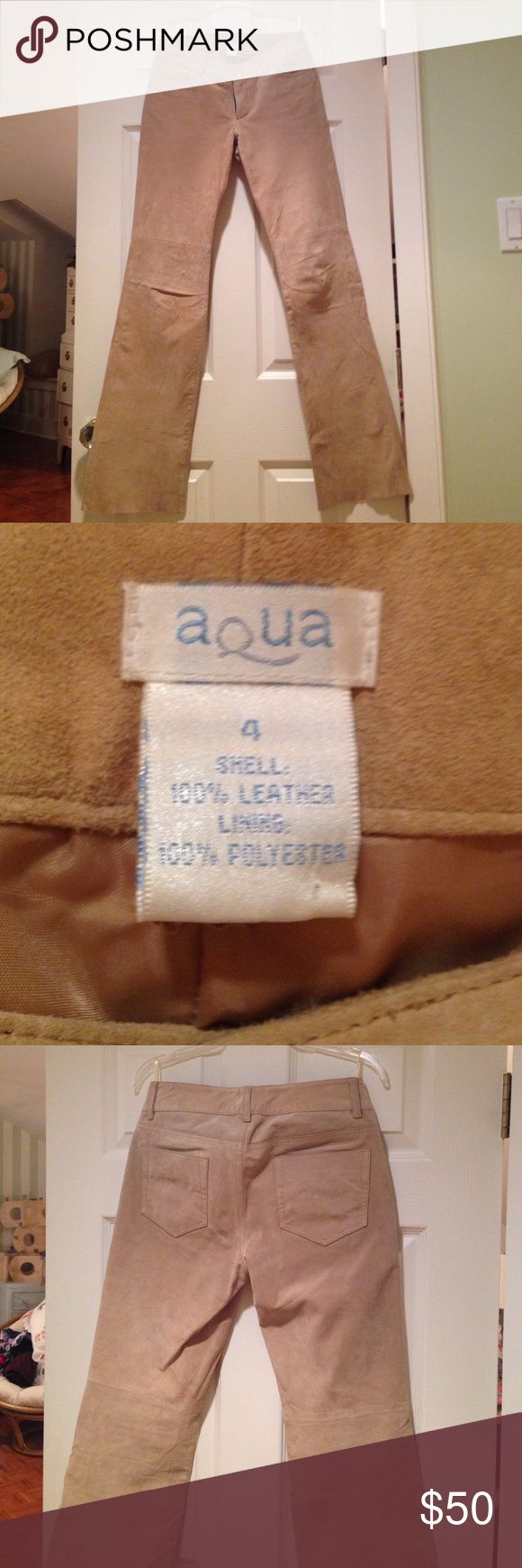 Suede genuine leather pants These lined, tan suede leather pants are in good condition. Pant legs have a blunt cut edge as pictured. Aqua Pants Wide Leg