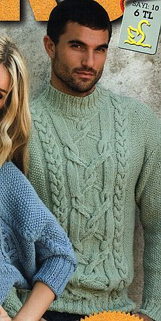 Мужской свитер спицами от Nako.