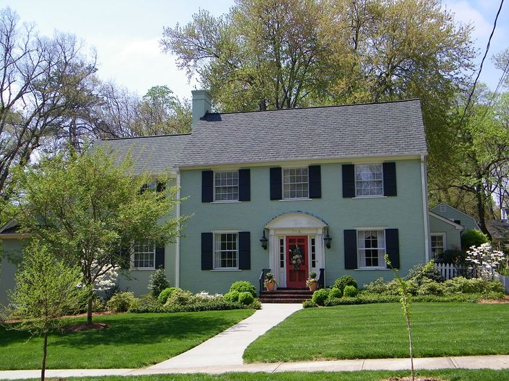 Painted Brick House The Best Answer Of Good Looking Brick House Light Green Painted Brick