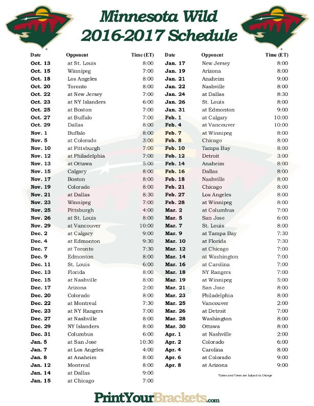 Printable Minnesota Wild Hockey Schedule 2016 - 2017