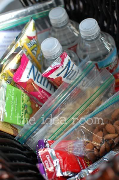 "organizing a snack bin for ""quick grab"" snacks for the kids"