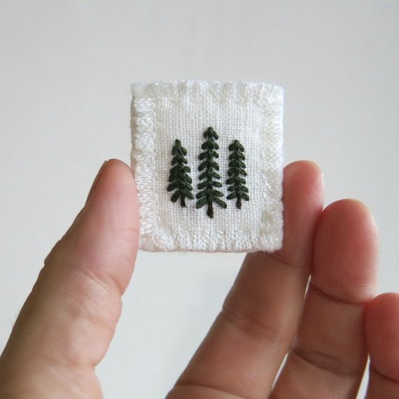 Evergreen Trees Embroidered on White Linen Fabric by Sidereal
