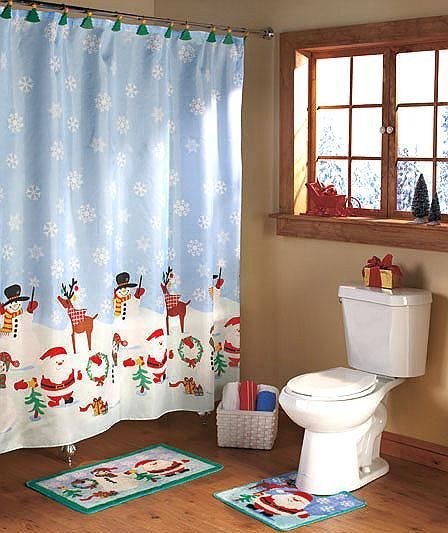 Christmas Bath Set Shower Curtain 12 Hooks Rug Contour