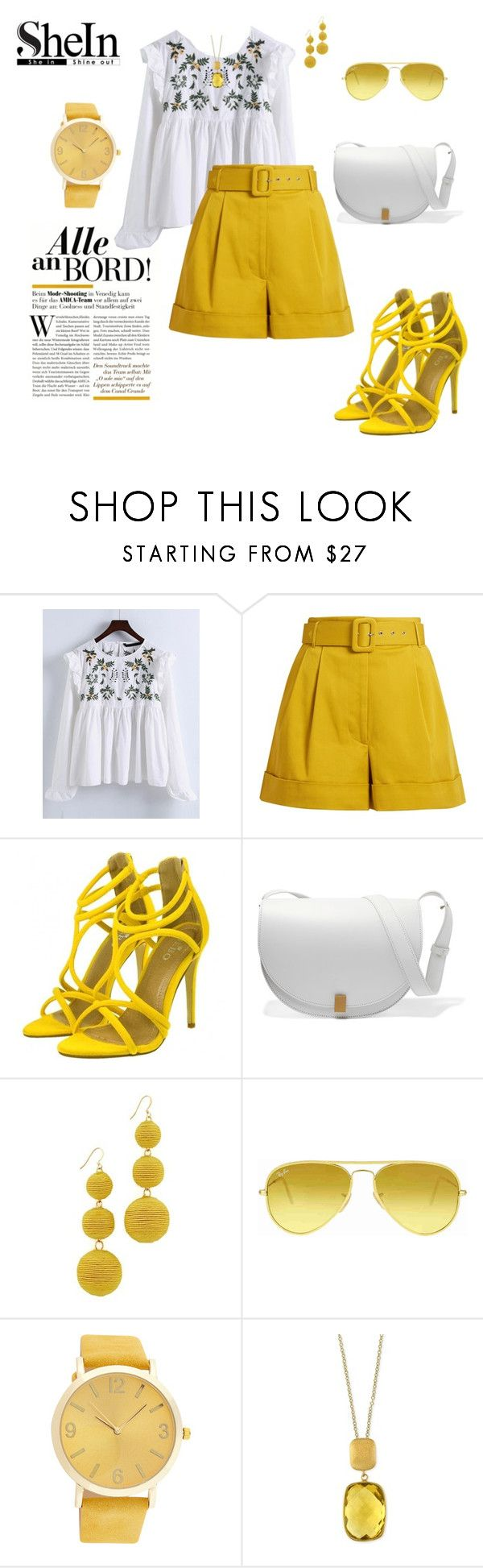 """Yellow glow"" by agnesmakoni ❤ liked on Polyvore featuring WithChic, Isa Arfen, Victoria Beckham, Kenneth Jay Lane, Ray-Ban and Effy Jewelry"
