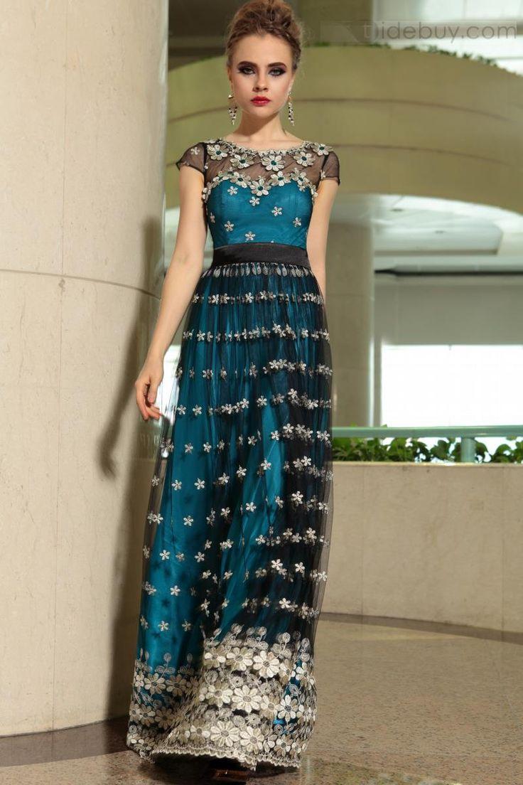 エレガントなラウンドネックキャップスリーブのフラワーイブニングドレス