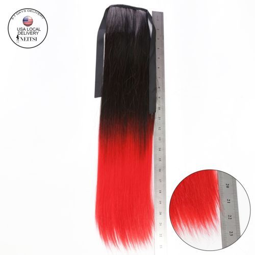 Wrap-Around-Clip-In-On-Ponytail-Hair-Extensions-Pony-Tail-Straight-Hair-Piece-US