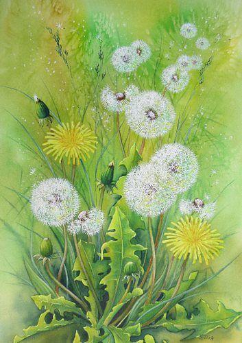 """Kerstin Birk, """"Pusteblumen II"""" Mit einem Klick auf """"Als Kunstkarte versenden"""" versenden Sie kostenlos dieses Werk Ihren Freunden und Bekannten."""