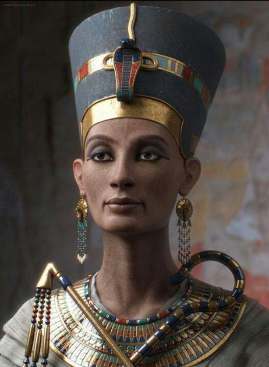 """The woman behind the iconic bust - Nefertiti reconstructed in digital 3D by Sven Geruschkat, who says, 'Nefertiti lived was the wife of Akhenaten (Amenhotep IV). She was co-regent, bore 6 daughters and died at 35. Her name roughly translates to """"the beautiful (or perfect) one has arrived"""". This model was done with 3dsmax, Mudbox, Mental Ray and Photoshop. I certainly lost my vision during the creation. So, you have to judge..."""""""