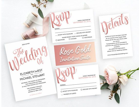 Calligraphy Rose Gold wedding invitation template with foil effect. Easy to edit and print PDF templates. 4 piece suite include Rose Gold Invitation, Rose Gold Details Card and Rose Gold RSVP in two versions. Instant download, edit text with your own wording and print at home or