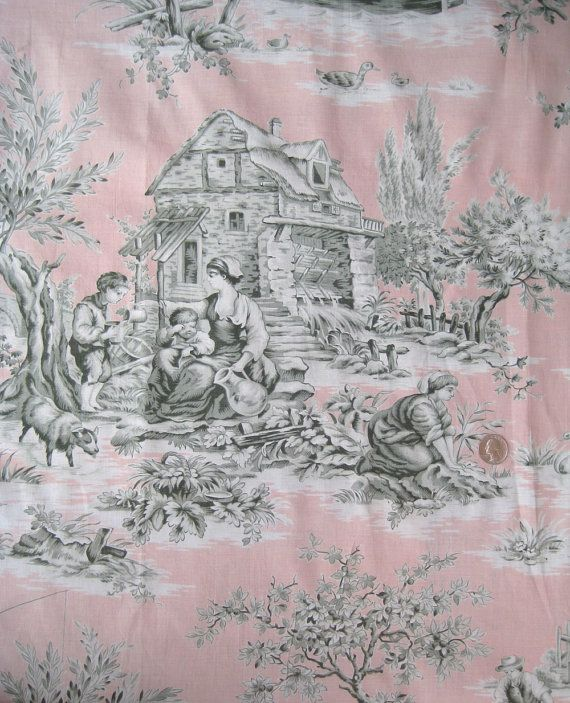 Rare French Antique Figural Toile Fabric in Pink and Gray