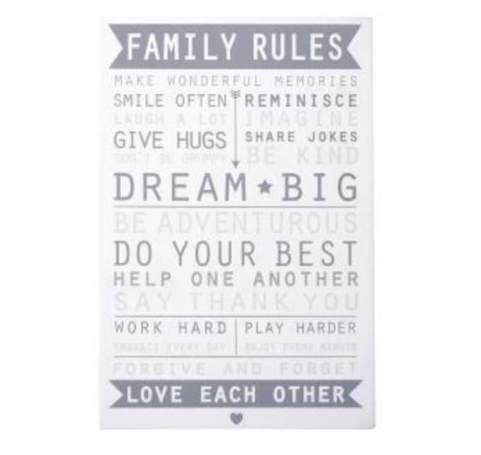 VANSTA Family Rules Sign