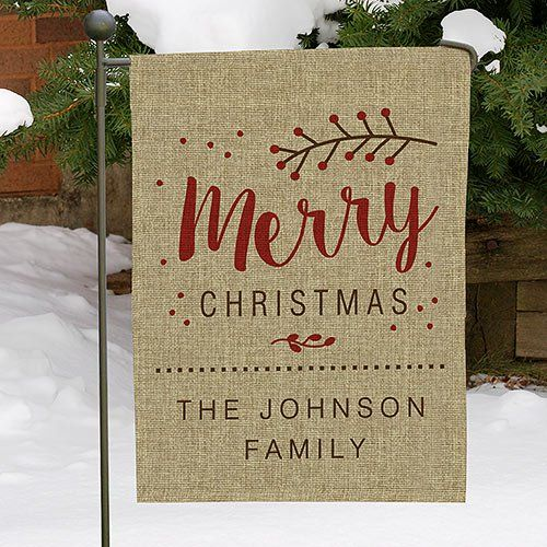 Merry Christmas Personalized Burlap Garden Flag